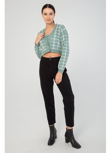 Modaset Hırka Ve Crop Top Ikili Triko Takım  Yeşil